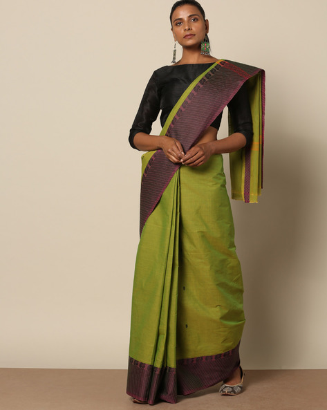Kanchi Cotton Saree With Woven Border By Indie Picks ( Green ) - 460164718001