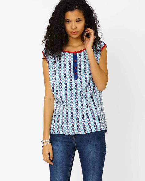 Printed Top With Cap Sleeves By Khimsariya ( Offwhite )