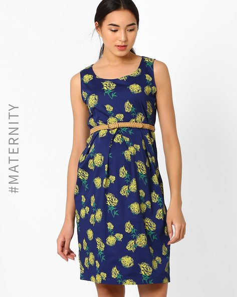 Floral Print Maternity Dress With Belt By AJIO ( Navyblue )