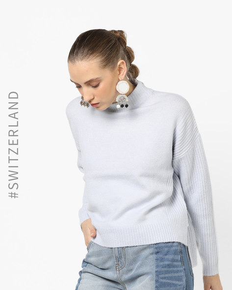 High-Neck Pullover With Drop-Shoulders By TALLY WEiJL ( Blue )