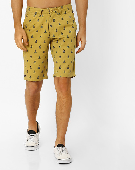 Printed Slim Fit Shorts By The Indian Garage Co ( Yellow )