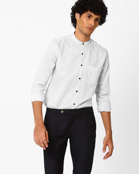 Polka-Dot Print Slim Shirt With Mandarin Collar By Nature Casuals ( White )