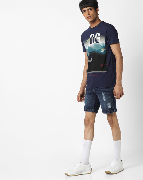 Graphic Print Cotton T-shirt By UNITED COLORS OF BENETTON ( Navyblue )