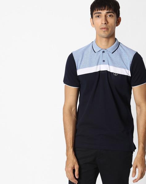 Colourblock Polo T-shirt By Teamspirit ( Navy )