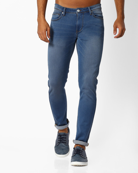 Lightly Washed Slim Fit Jeans By Celio ( Darkblue )