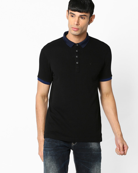 Slim Polo T-shirt With Striped Collar By SPYKAR ( Black )