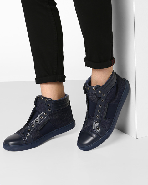 High-Top Sneakers With Elasticated Gussets By Muddman ( Navy )