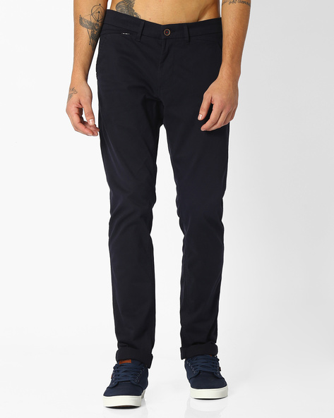 Tapered Fit Twill Chinos By NETPLAY ( Navy )