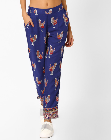 Printed Pants With Pockets By Melange By Lifestyle ( Navy )