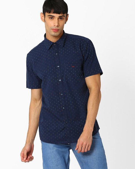 Slim Fit Printed Shirt By CRIMSOUNE CLUB ( Navy )