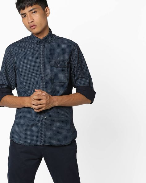 Checked Shirt With Flap Pocket By AJIO ( Blue )