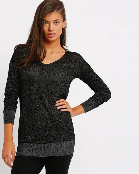 V-neck Sweater With Ribbed Hems By RIO ( Black )