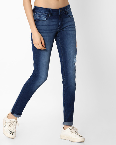 Lightly-Distressed Skinny Jeans By Pepe Jeans ( Blue )