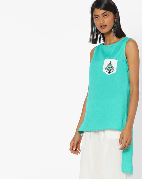 Sleeveless High-Low Tunic With Patch Pocket By FUSION ( Teal )