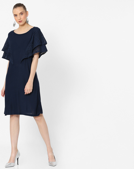 Shift Dress With Layered Lace Sleeves By RIO ( Navy )