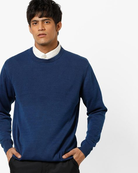 Crew-Neck Pullover With Ribbed Hems By Lee ( Navyblue )