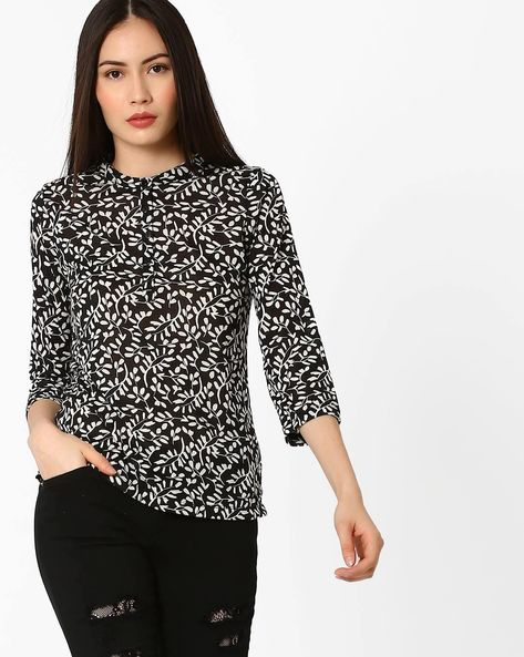 Printed Top With Mandarin Collar By BOSSINI ( Black )