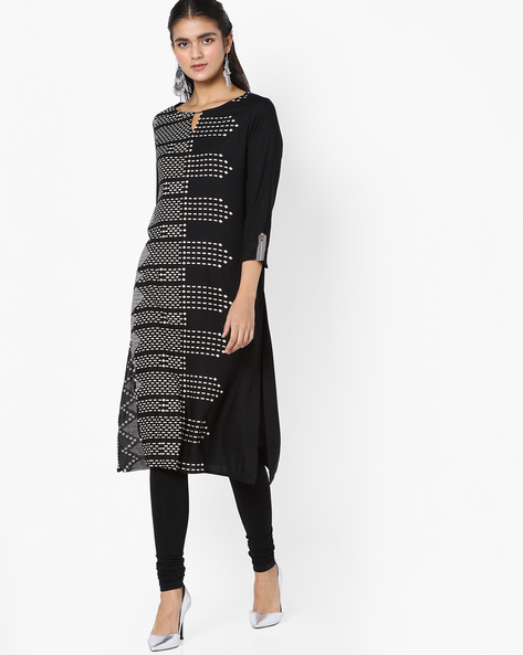 Printed Kurta With Keyhole Neckline By Global Desi ( Black )