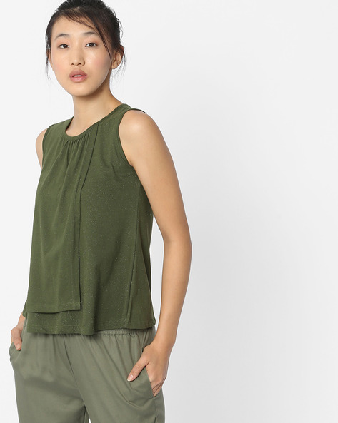 Sleeveless Top With Overlapping Front By ANONYMOUS CO ( Olivegreen )