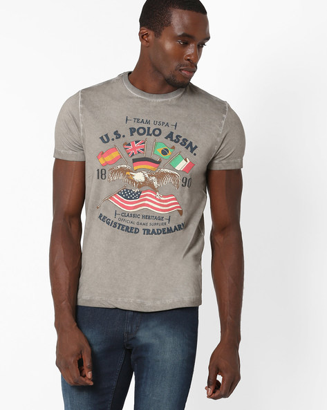 Muscle Fit Crew-Neck T-shirt By US POLO ( Darkgrey )