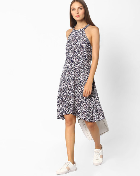 Printed Sleeveless Fit & Flare Dress By Oxolloxo ( Multi )
