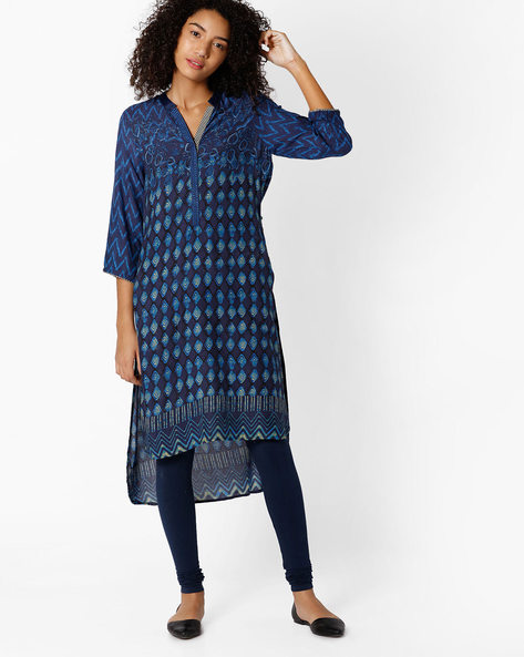 Printed High-Low Straight Kurta By Biba ( Indigo )