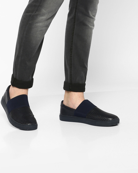 Slip-On Sneakers With Perforations By AJIO ( Navy )