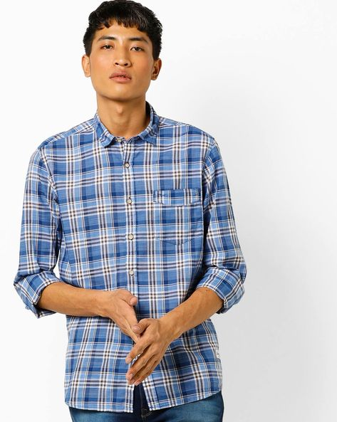 Slim Fit Checked Shirt With Patch Pocket By FLYING MACHINE ( Blue )
