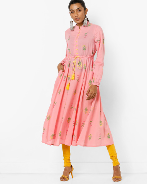 Anarkali Kurta With Tassel Tie-up By AJIO ( Pink )