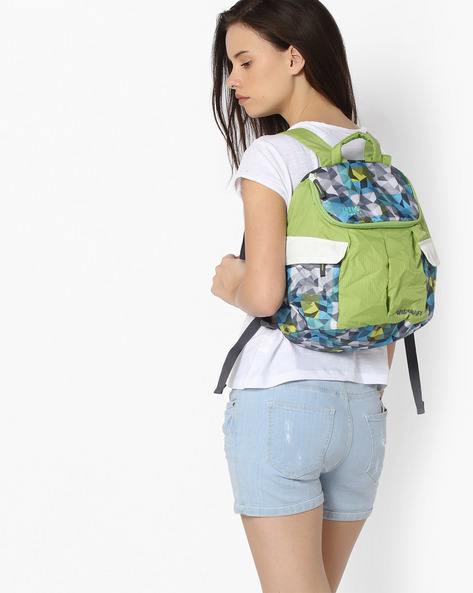 Geometric Print Backpack By Wildcraft ( Green )