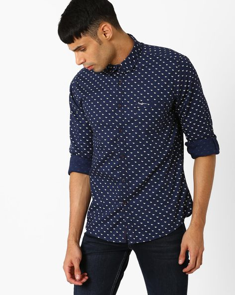 Squirrel Print Casual Shirt By Pepe Jeans ( Navy )