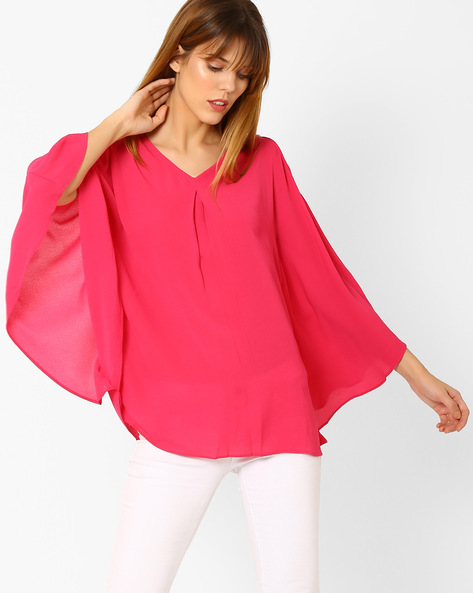 Cold-Shoulder Top With Batwing Sleeves By And ( Pink )