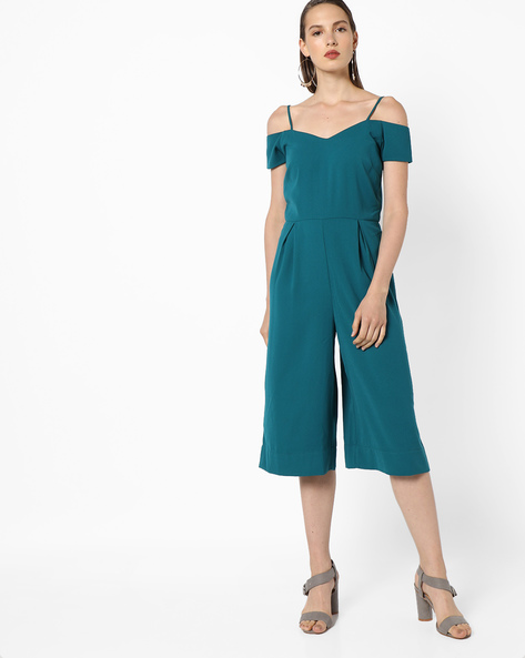 Strappy Cold-Shoulder Jumpsuit By AJIO ( Teal )