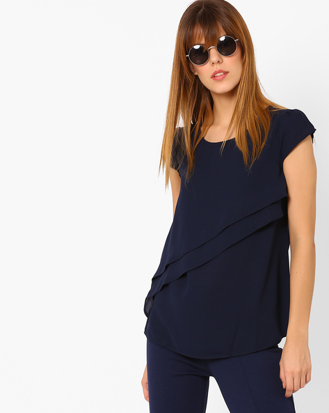 Layered Top With Cap Sleeves By Annabelle By Pantaloons ( Navy )