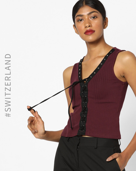 Sleeveless Lace-Up Top With Metal Eyelets By TALLY WEiJL ( Wine )