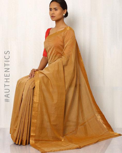 Handwoven Mangalgiri Cotton Silk Saree By Indie Picks ( Brown )