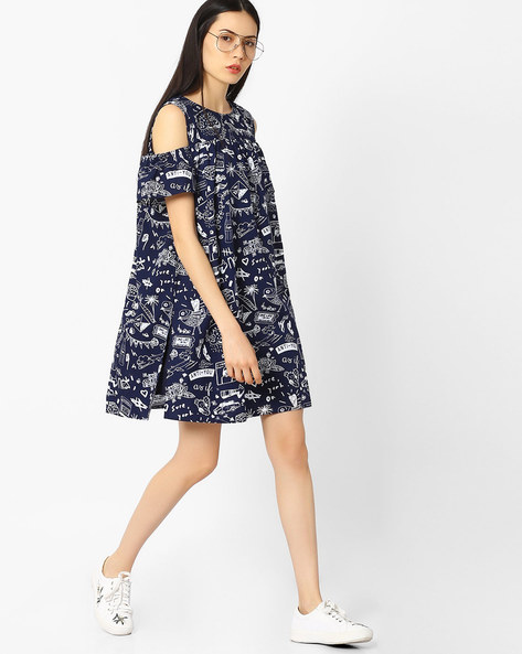 Doodle Print Dress With Cold-Shoulder Sleeves By AJIO ( Navyblue )