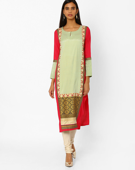 Printed Straight Kurta By W ( Green )