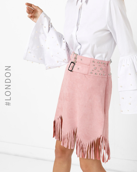 Embellished Suede Skirt With Fringes By Glamorous ( Pink )