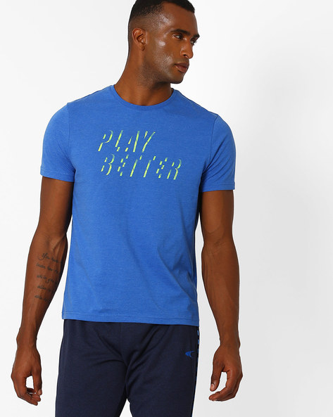 Crew-Neck Play Better Sweat T-shirt By PERFORMAX ( Blue )