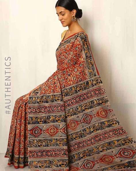 Hand Block Print Kalamkari Cotton Mull Saree By Indie Picks ( Red )