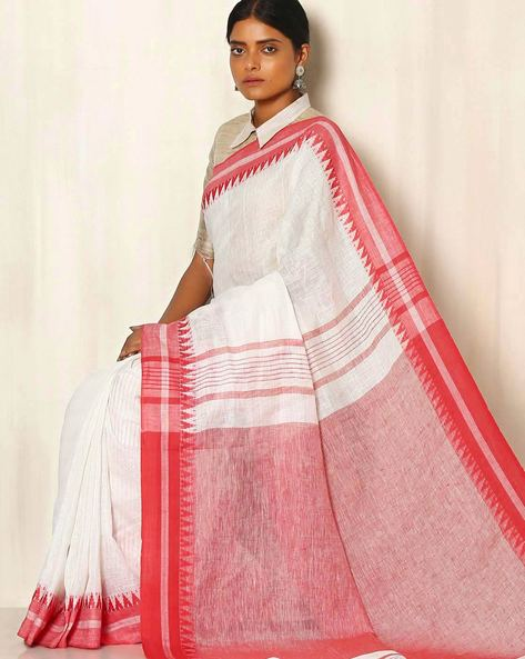 Handwoven Linen Saree With Cotton Contrast Border By Indie Picks ( White )
