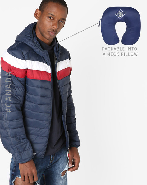 Convertible Ultralight Quilted Jacket With Hood By Point Zero ( Navy )