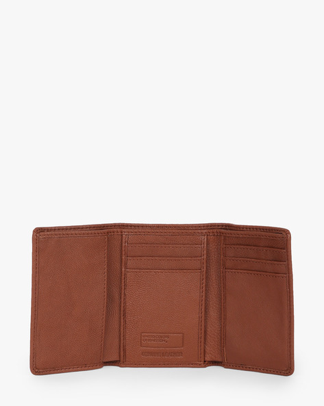 Genuine Leather Tri-Fold Wallet By UNITED COLORS OF BENETTON ( Tan )