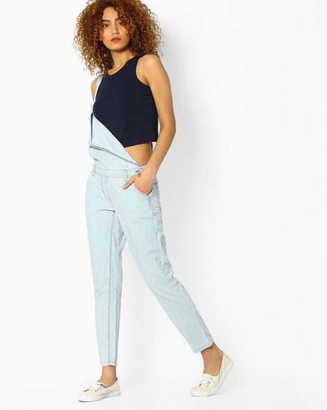Dungarees With Side Buttons By Ginger By Lifestyle ( Lightblue )