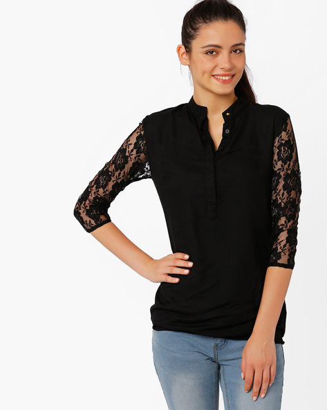 Top With Lace Sleeves By RIDRESS ( Black )