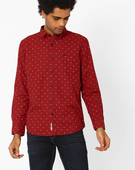 Printed Cotton Shirt By SIN ( Red )