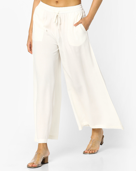 Flared Palazzos With Pocket By Project Eve IW Casual ( Offwhite )