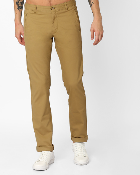 Tapered Fit Trousers With Belt Loops By BASICS ( Khaki )