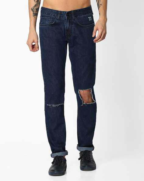 Relaxed Fit Distressed Jeans By Pepe Jeans ( Indigo )